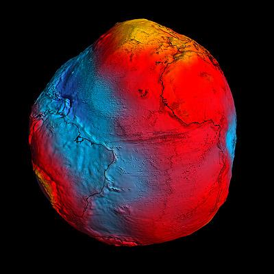 Il geoide misurato dal satellite GOCE (foto ESA)