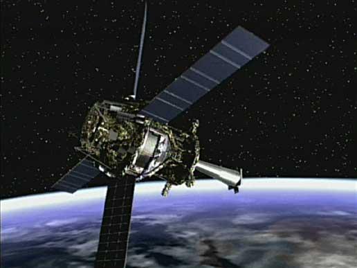 Rappresentazione artistica della sonda Gravity Probe B in orbita (immagine NASA/MSFC)