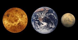 Da sinistra: Venere, la Terra e Marte. Le loro dimensioni a confronto (immagine NASA)