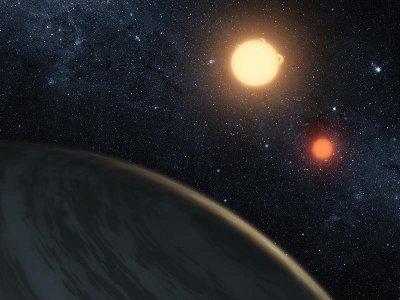 Concetto artistico che illustra il sistema binario Kepler16 (immagine NASA/JPL-Caltech/T. Pyle)