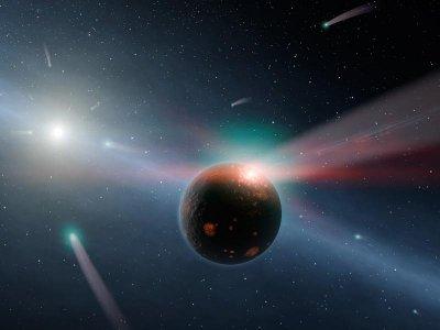 Concetto artistico che mostra la pioggia di comete nel sistema Eta Corvi (Immagine NASA/JPL-Caltech)