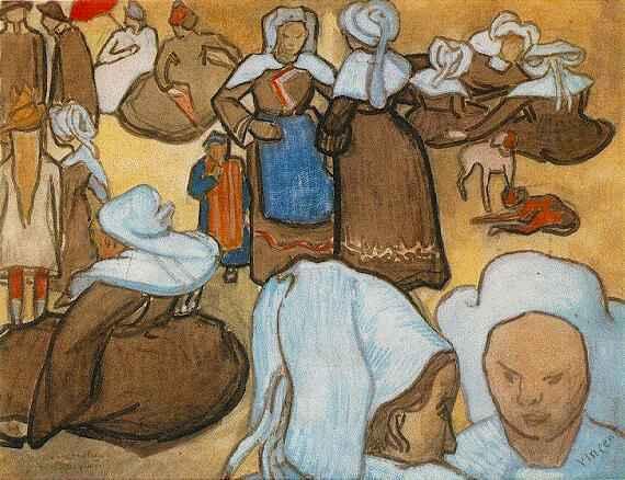 L'acquarello del 1888 Les bretonnes et le pardon de pont Aven di Vincent Van Gogh