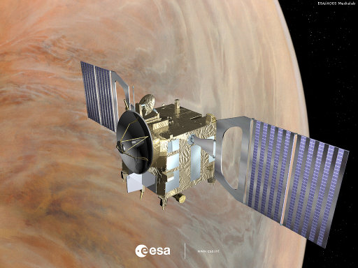 Concetto artistico della sonda spaziale dell'ESA Venus Express nell'orbita di Venere (Immagine ESA)