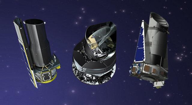 Immagine non in scala dei telescopi spaziali Kepler, Spitzer e Planck (Immagine NASA/JPL-Caltech)