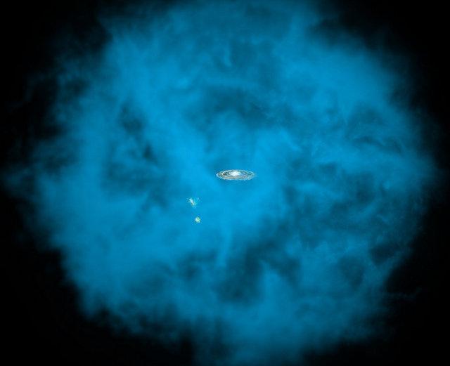 Rappresentazione artistica dell'alone di gas caldi che avvolge la Via Lattea ma anche la Grande e la Piccola Nube di Magellano (Immagine NASA/CXC/M.Weiss; NASA/CXC/Ohio State/A.Gupta et al.)