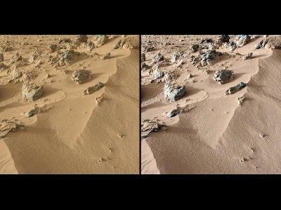 Area di suolo marziano vista con i suoi colori reali a sinistra e a destra con i colori aggiustati che mostrano come apparirebbe sulla Terra (Immagine NASA/JPL-Caltech/MSSS)