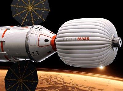 Concetto artistico dell'astronave per la missione per Marte della fondazione Inspiration Mars (Immagine cortesia Inspiration Mars Foundation)