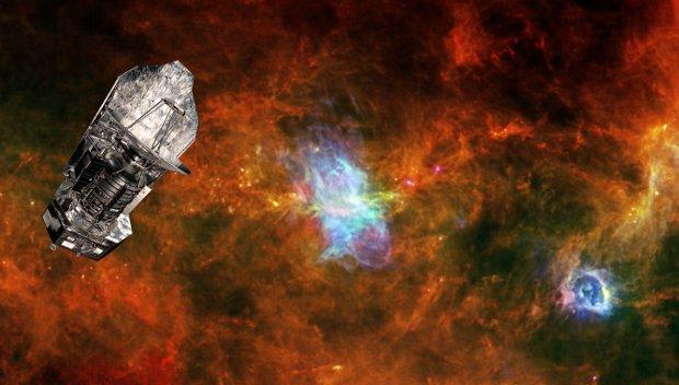 Immagine composta con il telescopio spaziale Herschel e sullo sfondo la regione Vela C (Immagine ESA/PACS & SPIRE Consortia, T. Hill, F. Motte, Laboratoire AIM Paris-Saclay, CEA/IRFU – CNRS/INSU – Uni. Paris Diderot, HOBYS Key Programme Consortium)
