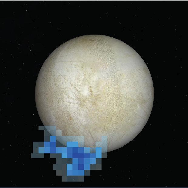 Immagine che mostra l'area in cui vapore acqueo emesso da Europa è stato rilevato dal telescopio spaziale Hubble (Immagine NASA/ESA/L. Roth/SWRI/University of Cologne)