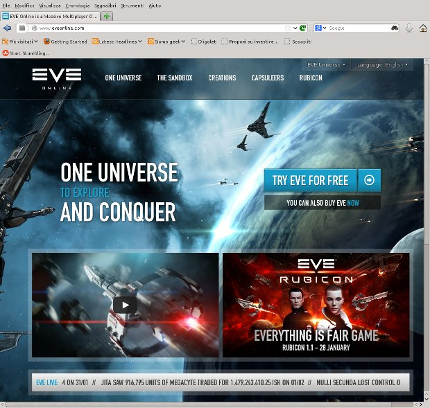 La home page di Eve Online
