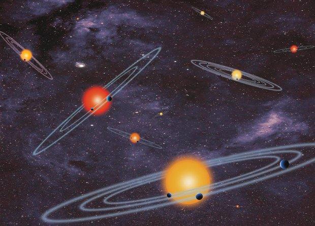 Concetto artistico di vari sistemi planetari multipli trovati grazie al telescopio spaziale Kepler (Immagine NASA)
