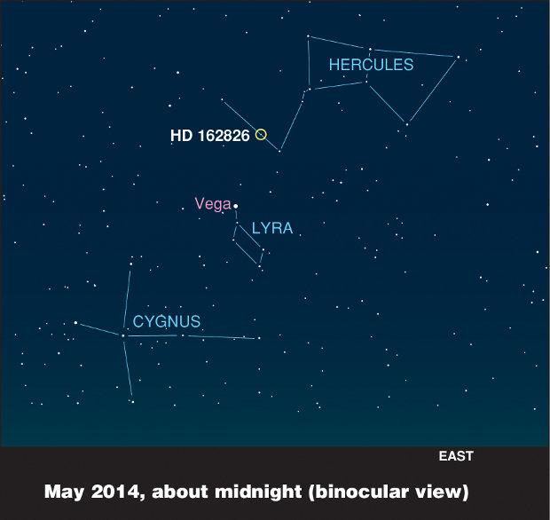 Posizione della stella HD 162826 (Immagine cortesia Ivan Ramirez/Tim Jones/McDonald Observatory. Tutti i diritti riservati)