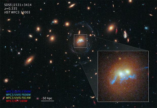 Il nuovo ammasso di stelle e i nuclei delle due galassie che si stanno unendo ingranditi nell'immagine dell'ammasso galattico di cui fanno parte (Immagine NASA)