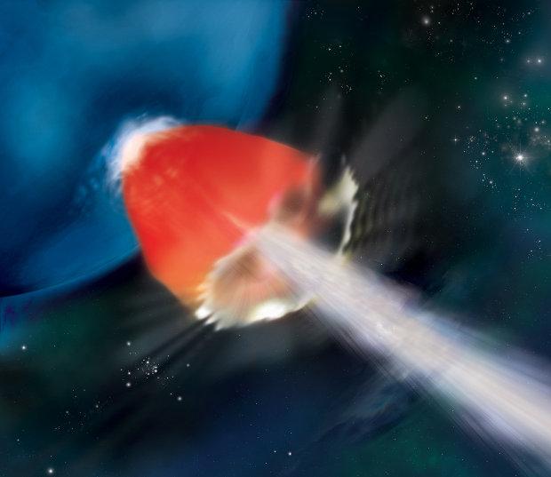 Rappresentazione artistica di GRB130925A. Il gas caldo in rosso circonda un getto di particelle in bianco sparate a velocità vicine a quella della luce (Immagine NASA/Swift/A. Simonnet, Sonoma State Univ.)
