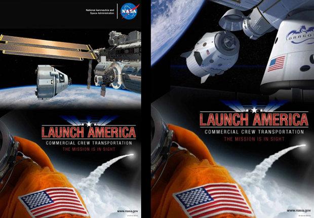 Concetto artistico delle navicelle spaziali CST-100 di Boeing e Dragon V2 di SpaceX vicino alla Stazione Spaziale Internazionale (Immagine NASA)