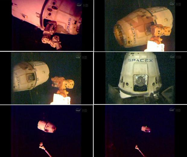 Immagini che mostrano la navicella spaziale Dragon di SpaceX mentre lascia la Stazione Spaziale Internazionale (Immagini NASA)