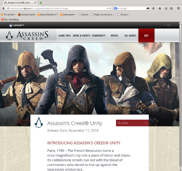 La home page del sito ufficiale di Assassin's Creed: Unity