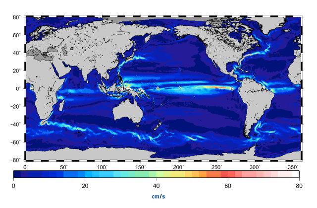 Mappa delle correnti oceaniche secondo il modello creato usanto i dati del satellite GOCE (Immagine ESA/CNES/CLS)