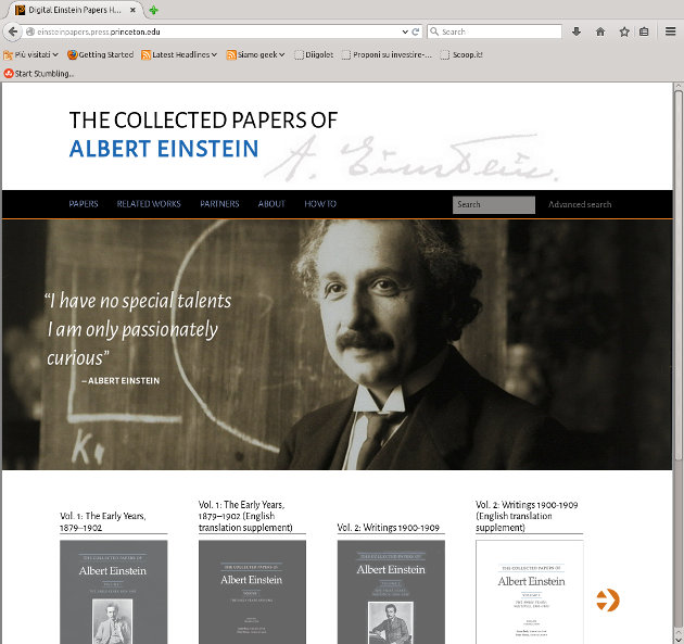La home page del sito Digital Einstein Papers