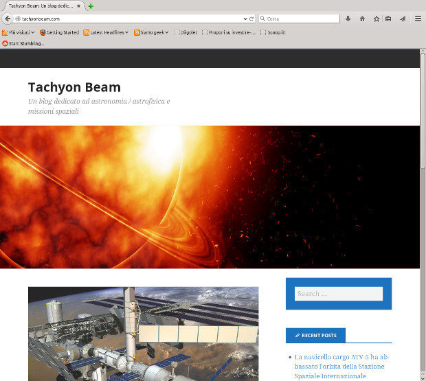 La home page del blog Tachyon Beam