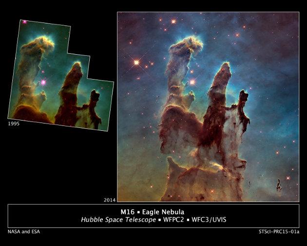 La nuova immagine dei ilastri della Creazione a confronto con quella del 1995 (Foto NASA/ESA/Hubble Heritage Team (STScI/AURA)/J. Hester, P. Scowen (Arizona State U.))