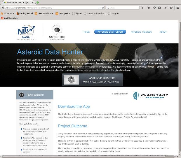 La pagina web dell'applicazione per identificare asteroidi