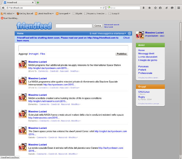 La mia home page di FriendFeed
