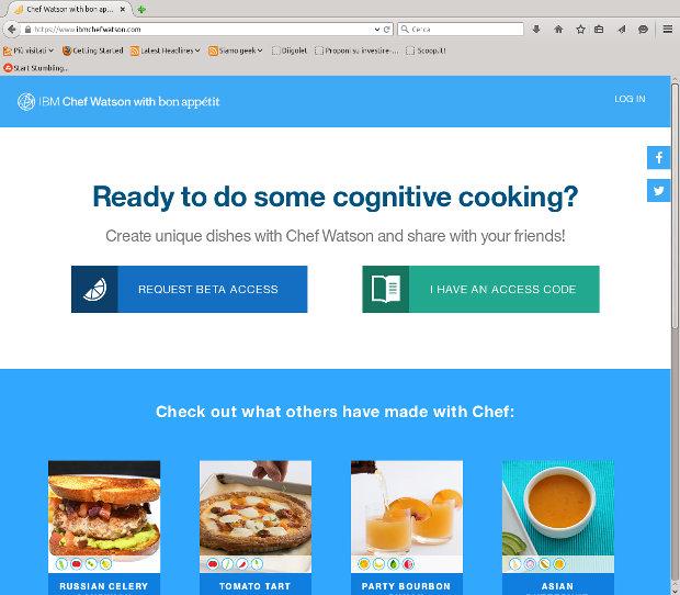 La home page del sito IBM Chef Watson