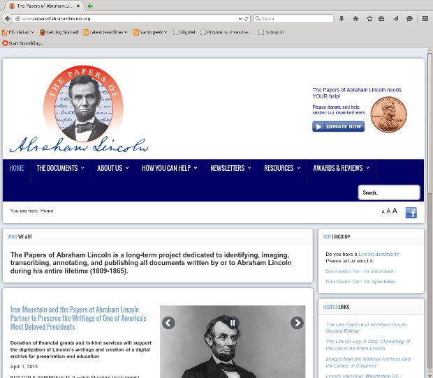La home page del sito del progetto The Papers of Abraham Lincoln