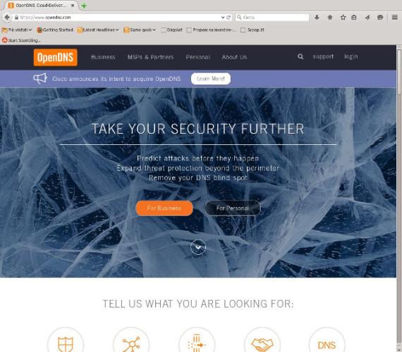 La home page di OpenDNS