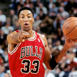 Scottie Pippen con i Chicago Bulls nel 1995