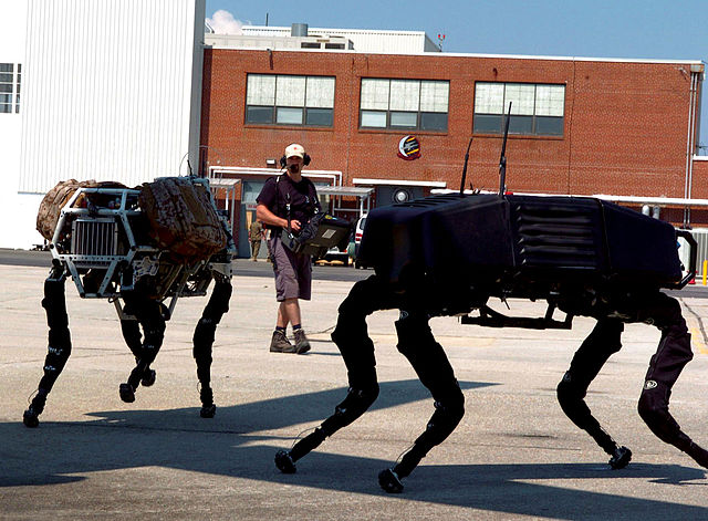 Due robot Big dog durante un test (Fonte U.S. Marine Corps photo by Lance Cpl. M. L. Meier)