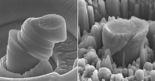 A sinistra un campione di puro metallo deformato. A destra il nuovo materiale formato da magnesio e nanoparticelle di carburo di silicio (Immagine cortesia UCLA Scifacturing Laboratory. Tutti i diritti riservati)