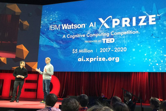 Peter Diamandis e David Kenny alla conferenza TED2016 (Foto cortesia IBM. Tutti i diritti riservati)
