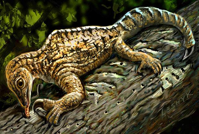 Illustrazione di drepanosauro (Immagine cortesia Victor Leshyk)