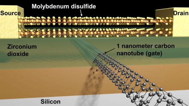 Schema di transistor fatto di nanotubi di carbonio e disolfuro di molibdeno (Immagine cortesia Sujay Desai/UC Berkeley)