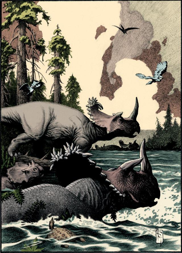 Rappresentazione di esemplari di Cornosaurus (Immagine cortesia Mark Schultz / Museo di Storia Naturale di Cleveland)