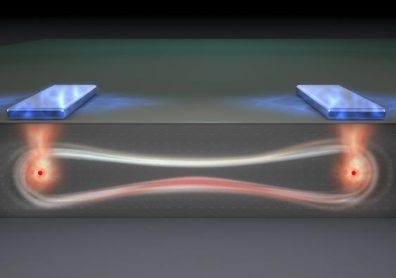 Concetto artistico di qubits flip-flop al lavoro (Immagine cortesia Tony Melov)