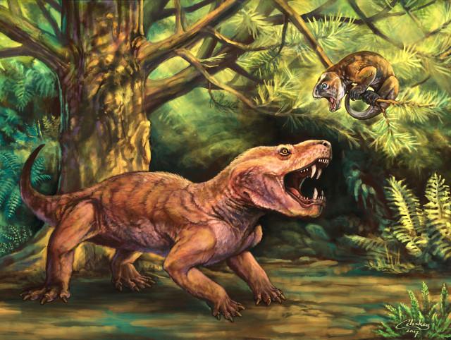 Concetto artistico di Gorynychus masyutinae a caccia di un Suminia getmanovi (Immagine cortesia Matt Celeskey)