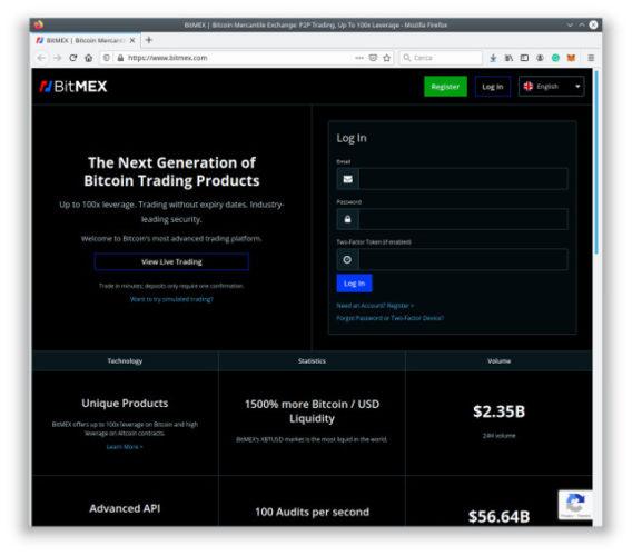 La home page di BitMEX