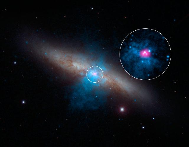 Immagine della galassia M82 con al centro, anche ingrandita, la pulsar M82 X-2 (Immagine NASA/JPL-Caltech/SAO/NOAO)