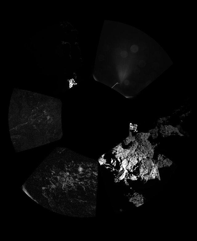 Immagine panoramica dell'area della cometa 67P/Churyumov–Gerasimenko attorno al lander Philae (Immagine ESA/Rosetta/Philae/CIVA)