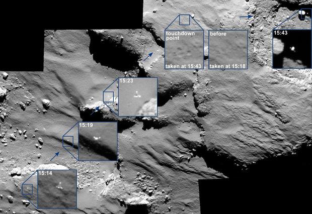 Traiettoria del lander Philae sulla superficie della cometa 67P/Churyumov-Gerasimenko (Immagine ESA/Rosetta/MPS for OSIRIS Team MPS/UPD/LAM/IAA/SSO/INTA/UPM/DASP/IDA)
