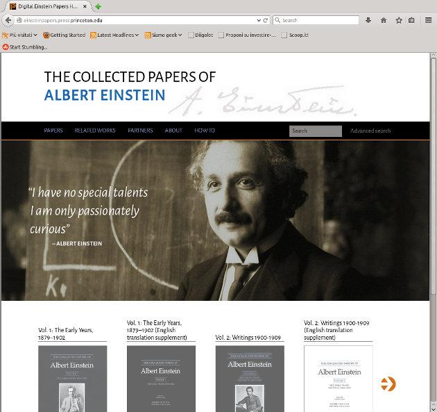 La home page del sito Digital Einstein Papers