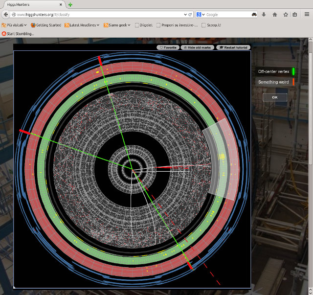 Una delle immagini sul sito Higgs Hunters