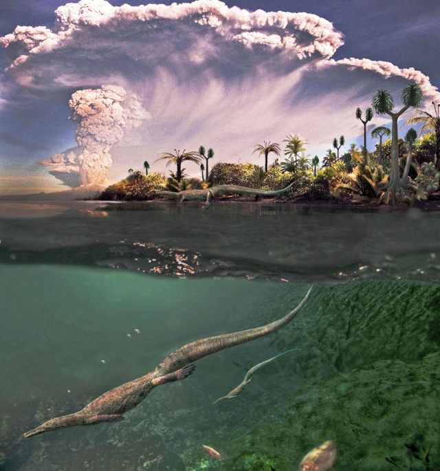 Concetto artistico di mesosauro nel suo ambiente (Immagine cortesia Roman Yevseyev e Graciela Piñeiro. Tutti i diritti riservati)