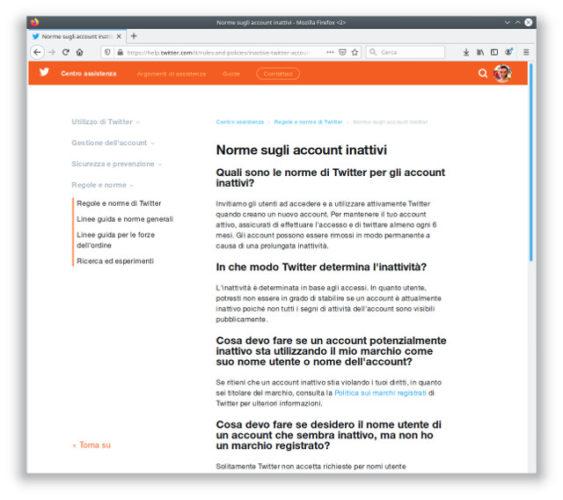 Schermata con le nuove norme sugli account inattivi di Twitter