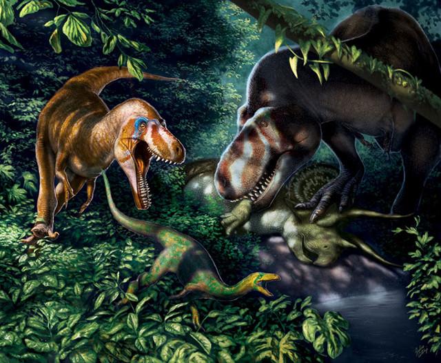 Concetto artistico di giovani T. rex (Immagine cortesia Julius T. Csotonyi)