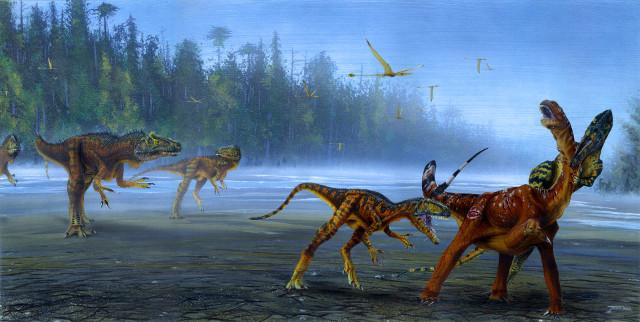 Concetto artistico di gruppo di Allosaurus jimmadseni (Immagine cortesia Todd Marshall)